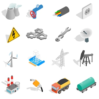 Industrielle ikonen stellten in die isometrische art 3d ein, die auf weißem hintergrund lokalisiert wurde