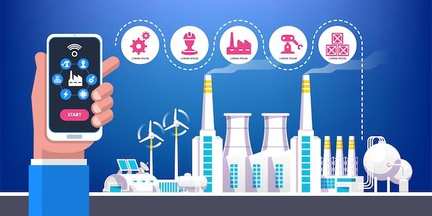 Industrielle infografik. industrie 4.0 abbildung