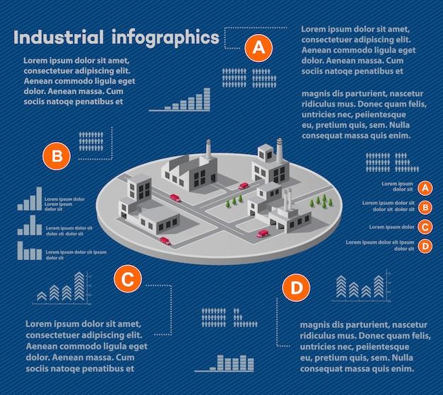 Industrielle infografiken mit isometrischer anlage