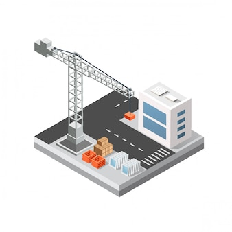 Industrielle isometrische stadt 3d