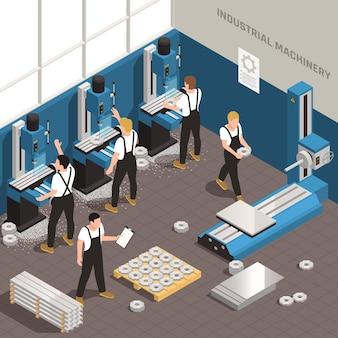 Industrielle metallbearbeitungsanlage herstellungsprozess isometrische zusammensetzung mit arbeitern unter verwendung von fräsbohrmaschinen