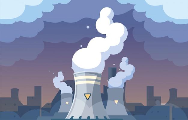 Industrielle rauchwolken auf stadtlandschaft, umweltverschmutzung des kernreaktors