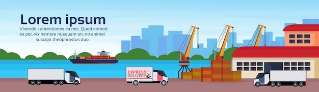 Industrielle seehafen frachtschiff fracht minivan kran logistik verladung lager wasser lieferung
