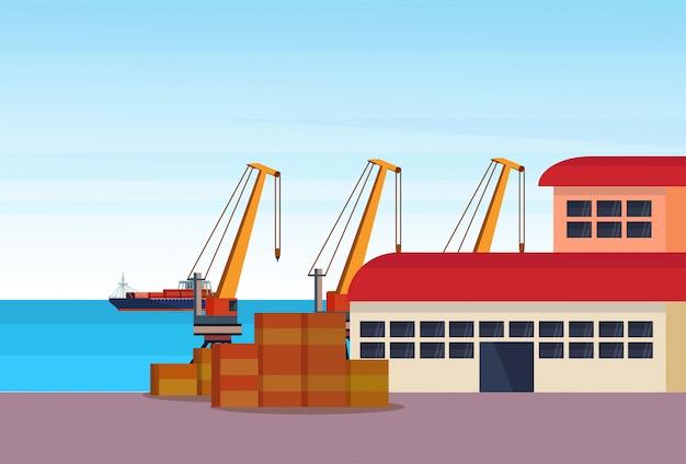 Industrielle seehafen frachtschiff frachtkran logistik container laden lager wasser lieferung