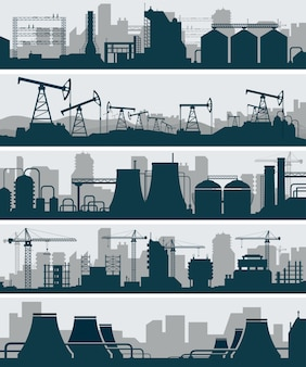 Industrielle skyline silhouette set