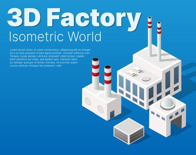 Industrielle städtische fabrik des isometrischen stadtmoduls, die gebäude, kraftwerke, heizgas und lager umfasst. flaches kartenisoliertes element
