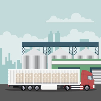 Industrielle transportlogistik mit containerwagen