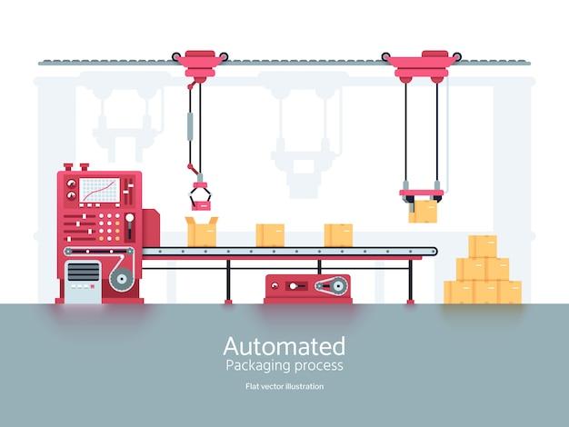 Industrielle verpackungsmaschine mit fördererfertigungsstraße