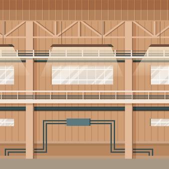 Industrieller fabrik-leerer lager-raum-innenraum