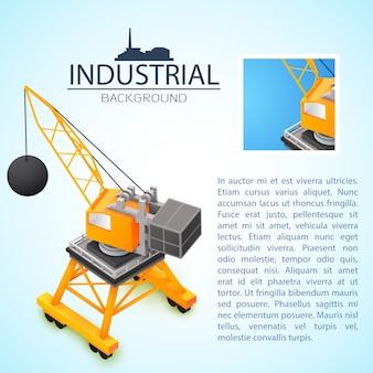Industrieller hintergrund mit 3d-baumaschinen