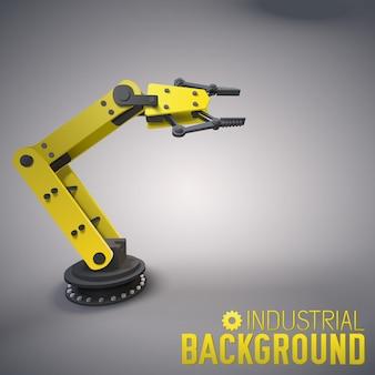 Industrieller hintergrund mit 3d-roboterarm