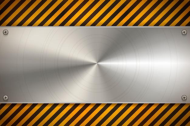 Industrieller hintergrund mit metallrohlingplatte auf abgenutztem warnmuster mit roten und weißen streifen