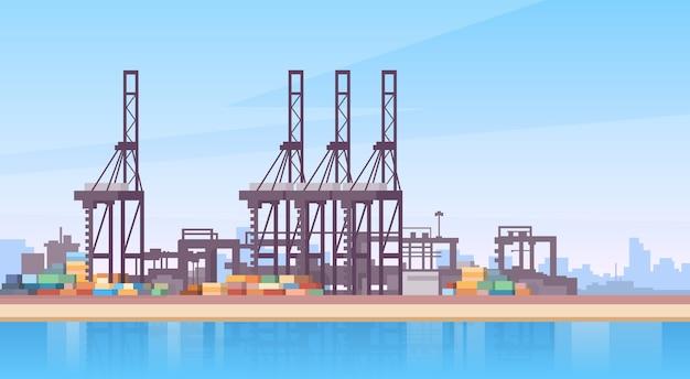 Industrieller seehafen-fracht-logistik-containerschiff-kran