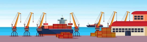 Industrieller seehafen frachtschiff frachtkran logistikcontainer laden lagerwasser