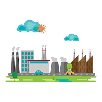 Industrielles fabrikgebäude im flachen design. vektor-illustration
