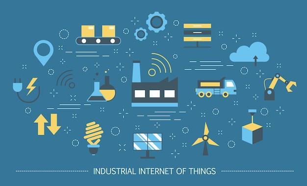 Industrielles internet der dinge konzept. geschäftsautomatisierung und futuristische technologie. drahtlose verbindung und intelligente logistik. satz bunte symbole. illustration