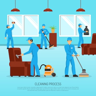 Industrielles reinigungs-team work flat poster