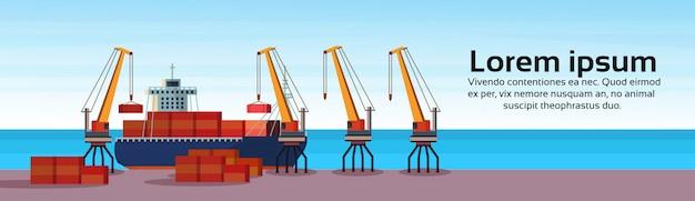 Industrielles seehafenfrachtschiff frachtkran logistikcontainer ladewasser