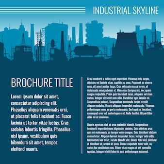 Industrielles vektorgeschäftsschablonendesign mit fabrikschattenbild und -text