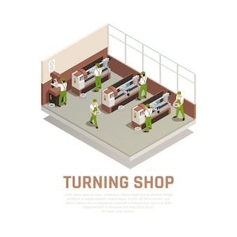 Industriemaschinen-konzept mit dem drehen von shop-symbolen isometrisch