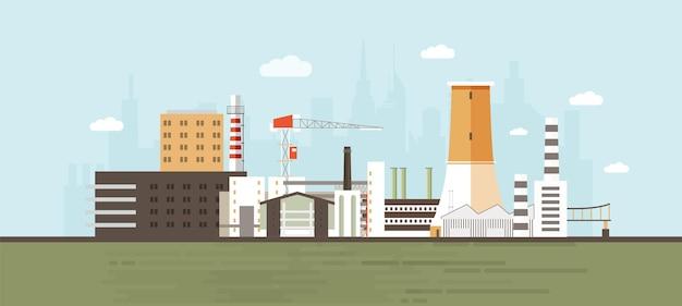 Industriepark, standort, zone oder gebiet mit produktionsgebäuden und -anlagen, kraftwerken und fabriken, kran, kühlturm gegen die skyline der stadt im hintergrund