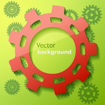 Industrieplakat mit rotem zahnrad auf grünem hintergrund