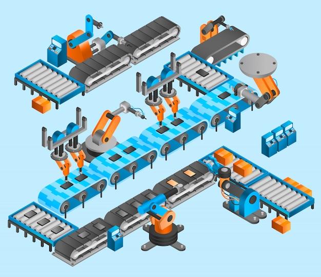 Industrieroboter isometrisches konzept