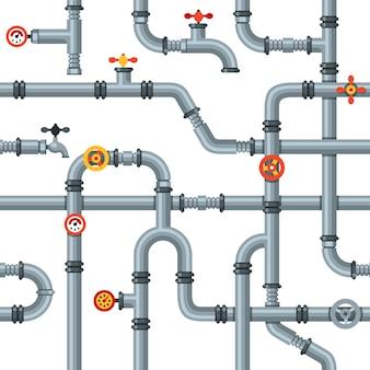 Industrierohre nahtlose muster. ventile und hähne leiten, kühl- oder heizungsrohrleitungen entleeren