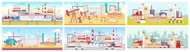 Industriestandorte flache farben gesetzt. ölraffinerie, kernkraftwerk und produktionsanlage 2d-cartoon-landschaften. anlagen für den abbau und die ausbeutung natürlicher ressourcen.