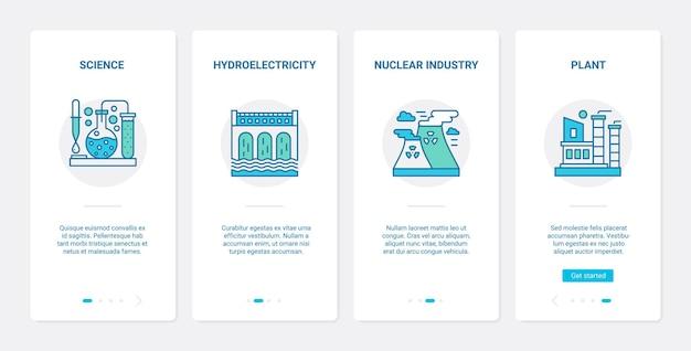 Industrietechnologie ux, ui onboarding mobile app seitenbildschirm mit liniensymbolen