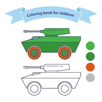 Infanterie-kampffahrzeug. militärspielzeug malbuch für kinder. auf weißem hintergrund isoliert. umrissenes gekritzel.