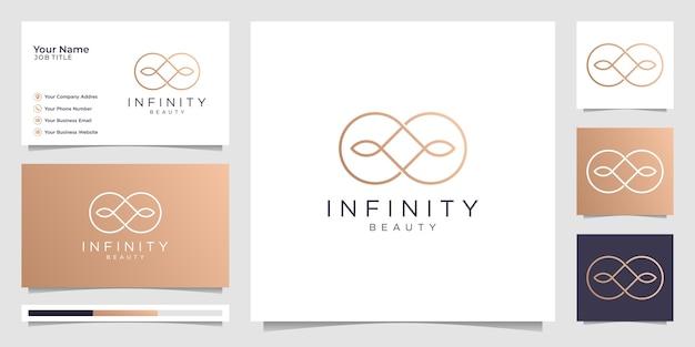 Infinity beauty minimalistisches logo und visitenkarten-design, schönheit, unendlichkeit, konzept