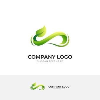 Infinity-blatt-logo-konzept mit grünem 3d-farbstil