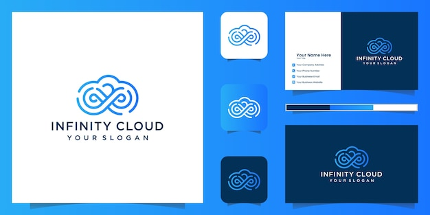 Infinity cloud logo design icon vorlage. cloud tech logo design und visitenkarte