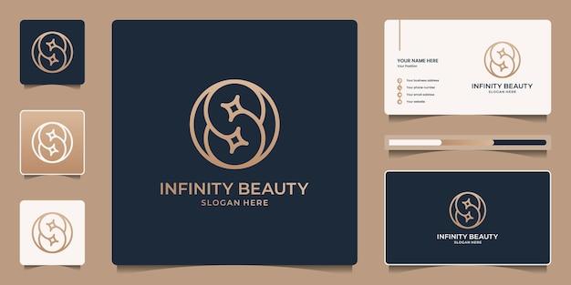 Infinity-schönheitslogo-vorlage mit strichzeichnungen. schönheitsschleife, verbindung, flusssymbol und visitenkarte.