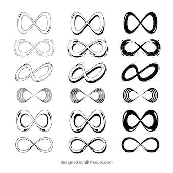 Infinity symbolsammlung in schwarzer farbe