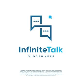 Infinity talk discuss logo entwirft konzeptvektor, forum und loop symbol symbolvorlage