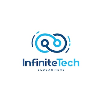Infinity technology logo entwirft konzeptvektor, pixel- und infinity-logo-vorlagensymbol-symbol