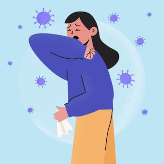 Infizierte frau hustet