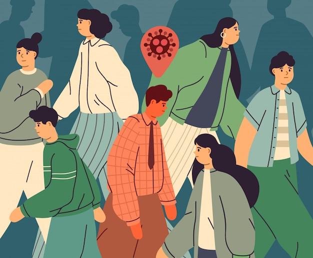 Infizierte person unter gesunden menschen. menschenmenge von männern und frauen in der stadt während des ausbruchs der virusepidemie. coronavirus pandemie. krankheitsübertragung. illustration im flachen karikaturstil