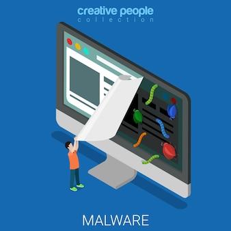 Infizierte website flach isometrisch