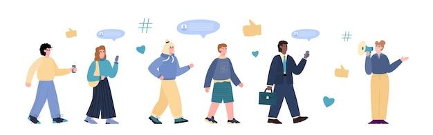 Influencer frau attraktive follower und werbung für online-dienste und -waren