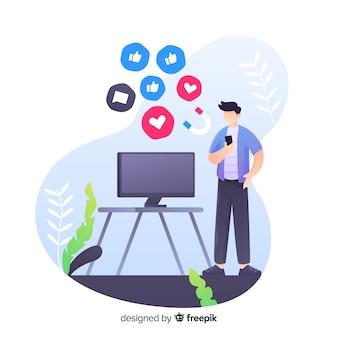 Influencer-mann auf social media-landingpage