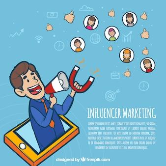 Influencer-marketing-konzept mit mann hält magnet
