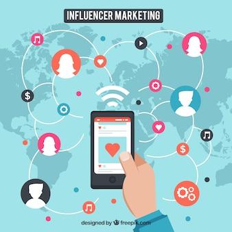Influencer-marketing-konzept mit smartphone auf der karte