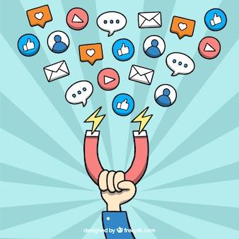 Influencer-marketing-vektor auf starburst-hintergrund