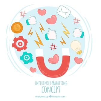 Influencer-marketing-vektor mit verschiedenen symbolen