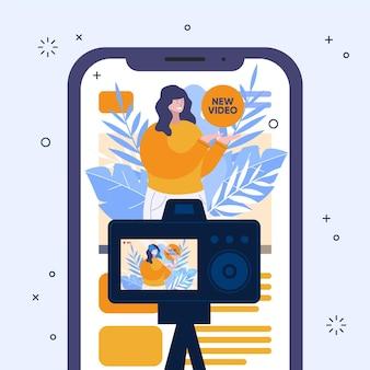 Influencer nimmt neue videoillustrationen auf