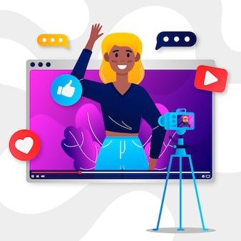 Influencer nimmt neues video auf
