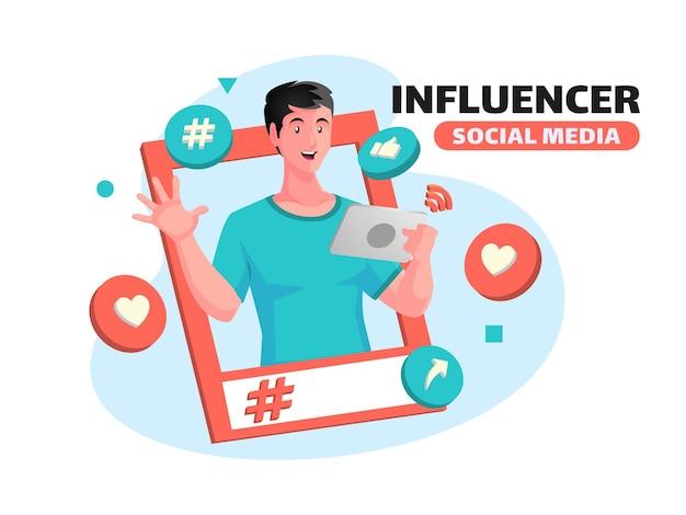 Influencer und fördern das social-media-konzept